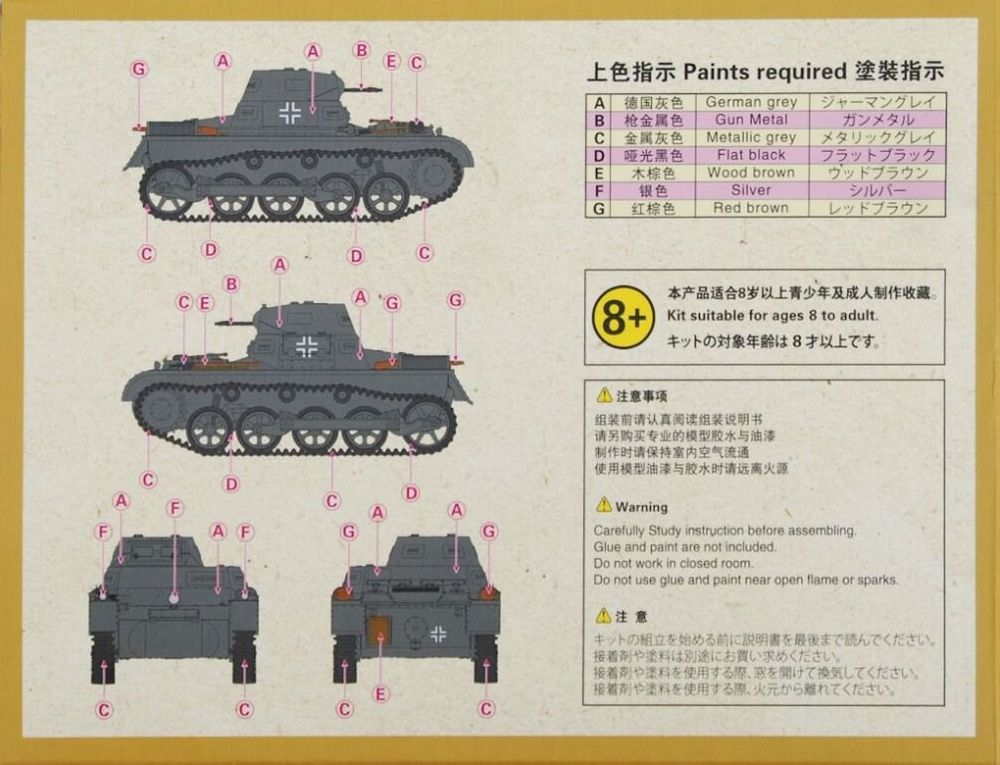 S-model 1//72 PS720090 Pz.Kpfw.I Ausf.A Early Production 1+1