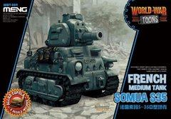 Танк Somua S35, сборка без клея, Meng World War Toons WWT-009