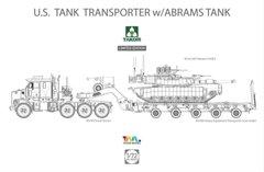 1/72 Тягач M1070 с полуприцепом M1000 и танком M1A2 SEP Abrams Tusk II (Takom 5002x) сборные модели