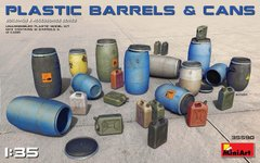 1/35 Набор пластиковых бочек и канистр, по 12 штук, пластик (MiniArt 35590) Plastic Barrels and Cans