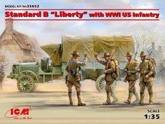 """1/35 Американский грузовик Standard B """"Liberty"""" с фигурками пехоты, Первая мировая (ICM 35652) сборная модель"""