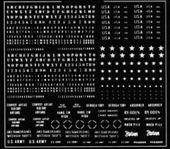1/35 Сухая декаль Modern US Army Codes/Stars ЧЕРНЫЕ (Verlinden 162)